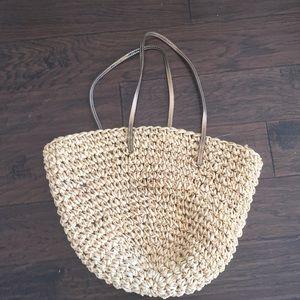 Jcrew straw beach bag